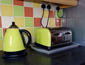 green appliance for style in kitchen
